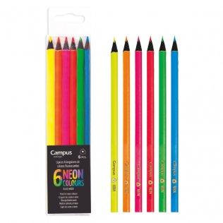 Lápices Campus Neón Estuche 6 colores