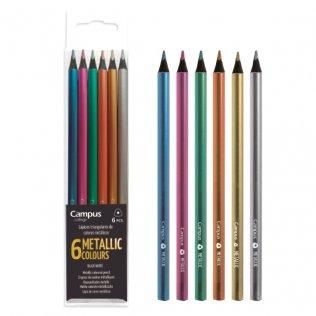 Lápices Campus Metallic Colors Estuche 6 colores