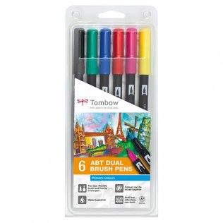 Rotulador Tombow Dual Brush colores primarios 6 ud