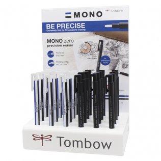 Borrador precisión Tombow Mono Zero Expositor 24 ud