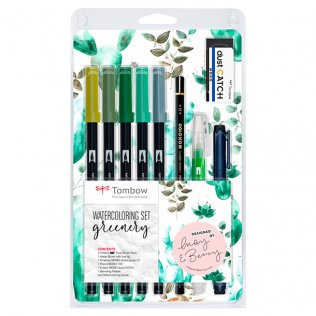 Set Watercoloring Tombow Greenery