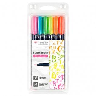 Set caligrafía Tombow Brush Pen 6 colores neón