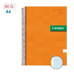 Bloc espiral Campus A4 tapa extradura 90g 80h Naranja cuadríicula 5mm