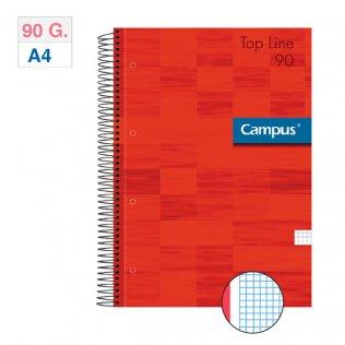 Bloc espiral Campus A4 tapa extradura 90g 80h Rojo cuadrícula 5mm