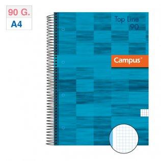Bloc espiral Campus A4 tapa extradura 90g 80h Azul cuadrícula 5mm