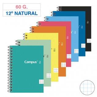 Bloc espiral Campus 12º Natural tapa básica 60g 80h cuadrícula 4mm