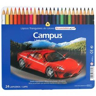 Lápices de colores Campus University acuarelables 24 uds