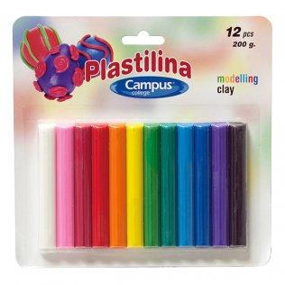 Plastilina Campus College blister 12 barras colores 200gr
