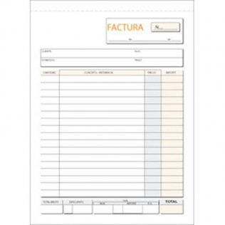 Talonario facturas 145x207mm original 100 hojas natural Plus Office