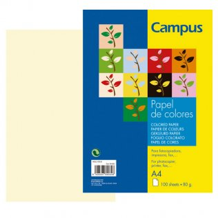 Papel A4 color marfil 80g 100 hojas Campus