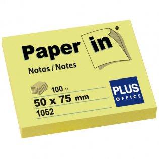 Bloc notas adhesivas amarillas 50x75mm 100 hojas Paper In Plus Office