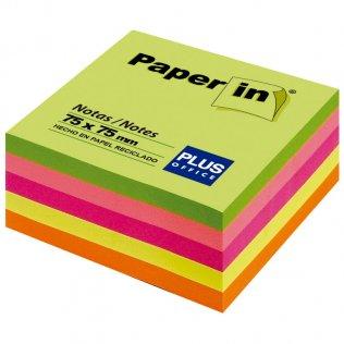 Bloc notas adhesivas neón 75x75mm 300 hojas Paper In Plus Office