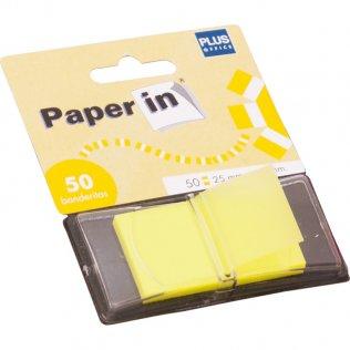 Banderitas separadoras Paper In Index amarillo 50ud Plus Office