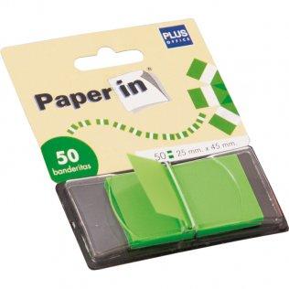 Banderitas separadoras Paper In Index verde 50ud Plus Office