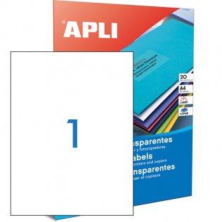 Etiquetas traslúcidas A4 1 por hoja 210x297mm Apli 20 hojas