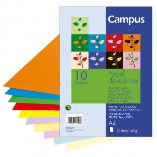 Papel A4 10 colores surtidos 80g 100 hojas Campus