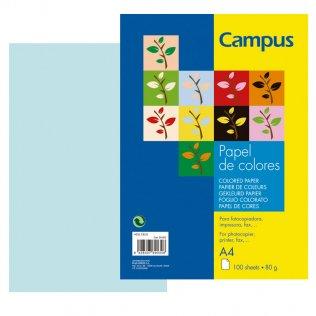 Papel A4 Azul cielo 80g 100 hojas Campus