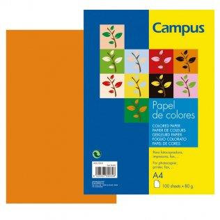 Papel A4 Naranja 80g 100 hojas Campus