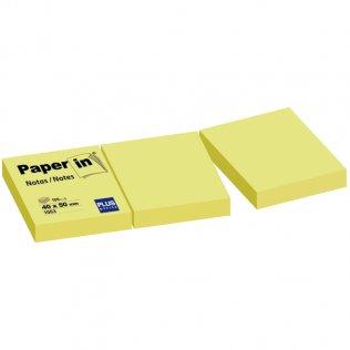 Bloc notas adhesivas amarillas 40x50mm 3x100 hojas Paper In Plus Office