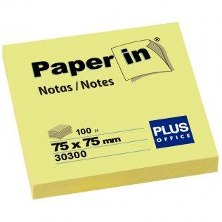 Bloc notas adhesivas amarillas 75x75mm 100 hojas Paper In Plus Office