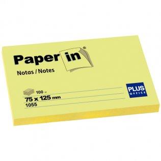 Bloc notas adhesivas amarillas 75x125mm 100 hojas Paper In Plus Office