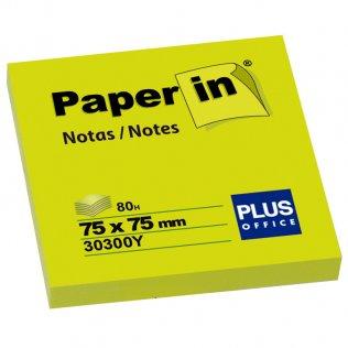 Bloc notas adhesivas amarillo flúor 75x75mm 80 hojas Paper In Plus Office