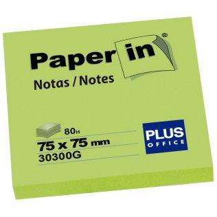 Bloc notas adhesivas verde flúor 75x75mm 80 hojas Paper In Plus Office