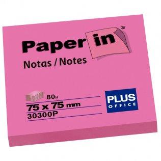 Bloc notas adhesivas rosa flúor 75x75mm 80 hojas Paper In Plus Office