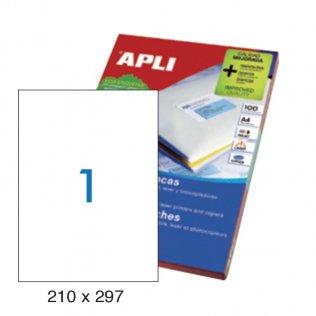 Etiquetas autoadhesivas 1 por hoja 210x297mm 100 hojas Apli cantos rectos