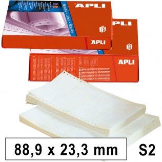 Etiquetas en continuo 88,9x23,3mm 2 salidas 12000ud Apli