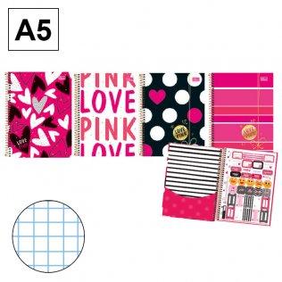 Bloc espiral A5 Love Pink tapa dura 70g 80h cuadrícula 4mm