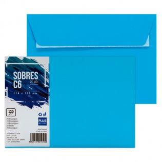 Sobre azul pastel C6 114x162mm 120g 20ud Plus Office