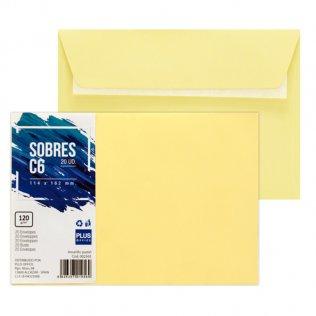 Sobre amarillo pastel C6 114x162mm 120g 20ud Plus Office