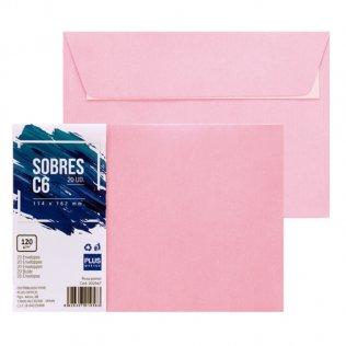 Sobre rosa pastel C6 114x162mm 120g 20ud Plus Office
