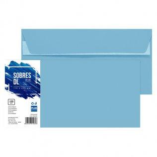 Sobre azul pastel DL 110x220mm 120g 20ud Plus Office