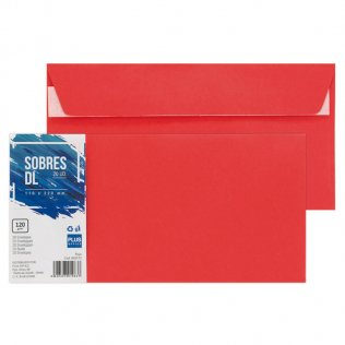 Sobre rojo DL 110x220mm 120g 20ud Plus Office