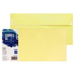 Sobre amarillo pastel DL 110x220mm 120g 20ud Plus Office