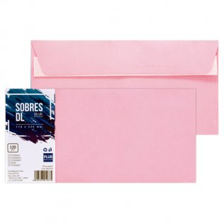 Sobre rosa pastel DL 110x220mm 120g 20ud Plus Office