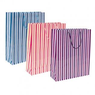 Bolsa de papel rayas grande