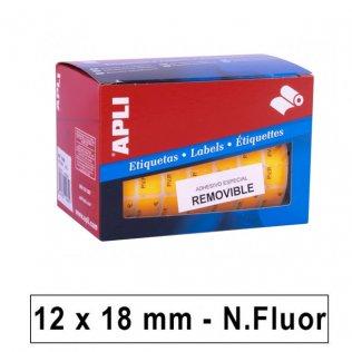 Etiquetas en Rollo PVP Naranja Flúor 12x18mm 3360ud Apli