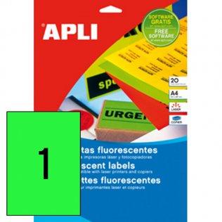 Etiquetas verde fluorescente A4 Apli 20 hojas