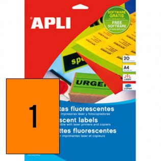 Etiquetas naranja fluorescente A4 Apli 20 hojas