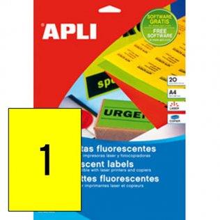 Etiquetas amarillo fluorescente A4 Apli 20 hojas