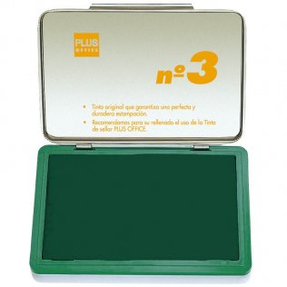 Almohadillas para sellar Plus Office Nº 3 Verde 70x105mm