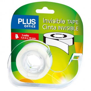Cinta adhesiva invisible con miniportarrollos 19mmx7,5m Plus Office