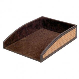 Bandeja símil-piel marrón 240x80x340mm Makro Paper