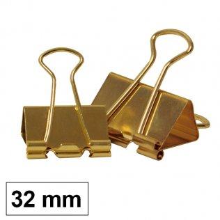 Pinzas sujetapapeles doradas 14 mm reversibles Plus Office