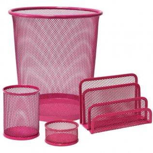 Set de escritorio 4 piezas rejilla rosa Plus Office