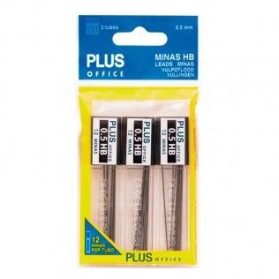 Minas Plus Office HB 0,5 mm Bolsa 3 tubos de 12 minas