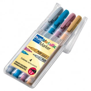 Marcador Plus Office Metallic Marker Blíster 4 colores